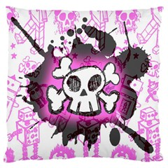 Cartoon Skull  Large Flano Cushion Case (two Sides) by ArtistRoseanneJones