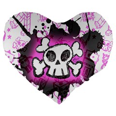 Cartoon Skull  Large 19  Premium Flano Heart Shape Cushion by ArtistRoseanneJones