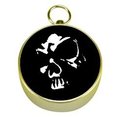 Gothic Skull Gold Compass by ArtistRoseanneJones