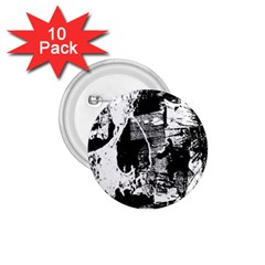Grunge Skull 1 75  Button (10 Pack)
