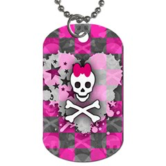 Princess Skull Heart Dog Tag (two Sided)  by ArtistRoseanneJones