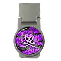Purple Girly Skull Money Clip (round)