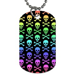 Rainbow Skull And Crossbones Pattern Dog Tag (two Sided)  by ArtistRoseanneJones