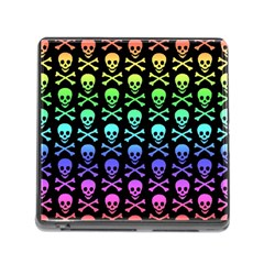 Rainbow Skull And Crossbones Pattern Memory Card Reader With Storage (square) by ArtistRoseanneJones