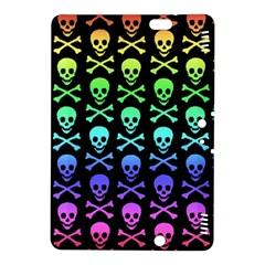 Rainbow Skull And Crossbones Pattern Kindle Fire Hdx 8 9  Hardshell Case by ArtistRoseanneJones