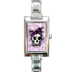 Sketched Skull Princess Rectangular Italian Charm Watch by ArtistRoseanneJones