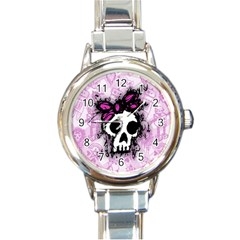 Sketched Skull Princess Round Italian Charm Watch by ArtistRoseanneJones