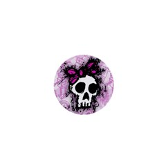 Sketched Skull Princess 1  Mini Button by ArtistRoseanneJones