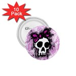 Sketched Skull Princess 1.75  Button (10 pack)