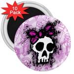 Sketched Skull Princess 3  Button Magnet (10 pack)