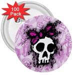 Sketched Skull Princess 3  Button (100 pack)