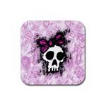 Sketched Skull Princess Drink Coaster (Square)