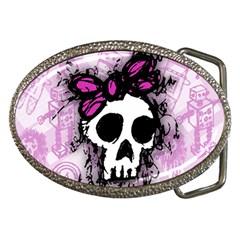 Sketched Skull Princess Belt Buckle (oval) by ArtistRoseanneJones