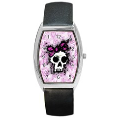 Sketched Skull Princess Tonneau Leather Watch by ArtistRoseanneJones