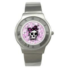 Sketched Skull Princess Stainless Steel Watch (slim) by ArtistRoseanneJones