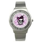 Sketched Skull Princess Stainless Steel Watch (Slim)