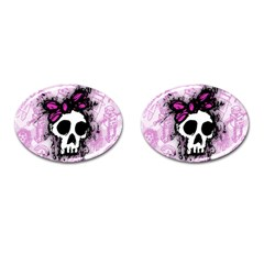 Sketched Skull Princess Cufflinks (oval) by ArtistRoseanneJones