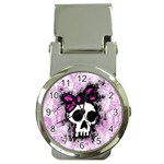 Sketched Skull Princess Money Clip with Watch