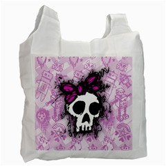 Sketched Skull Princess White Reusable Bag (one Side) by ArtistRoseanneJones