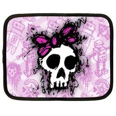Sketched Skull Princess Netbook Sleeve (xxl) by ArtistRoseanneJones