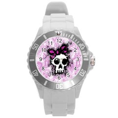 Sketched Skull Princess Plastic Sport Watch (large) by ArtistRoseanneJones
