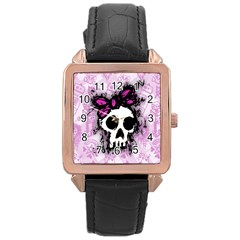 Sketched Skull Princess Rose Gold Leather Watch  by ArtistRoseanneJones