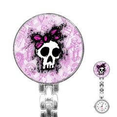 Sketched Skull Princess Stainless Steel Nurses Watch by ArtistRoseanneJones