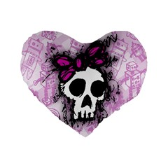 Sketched Skull Princess Standard 16  Premium Flano Heart Shape Cushion  by ArtistRoseanneJones