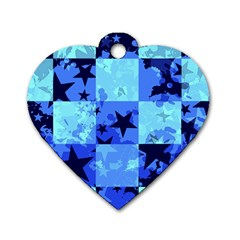 Blue Star Checkers Dog Tag Heart (one Sided)  by ArtistRoseanneJones