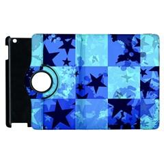 Blue Star Checkers Apple Ipad 3/4 Flip 360 Case by ArtistRoseanneJones