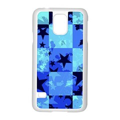 Blue Star Checkers Samsung Galaxy S5 Case (white) by ArtistRoseanneJones