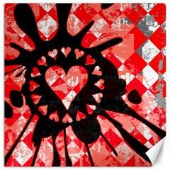 Love Heart Splatter Canvas 16  X 16  (unframed) by ArtistRoseanneJones