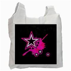 Pink Star Graphic White Reusable Bag (one Side) by ArtistRoseanneJones