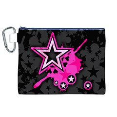 Pink Star Graphic Canvas Cosmetic Bag (xl) by ArtistRoseanneJones