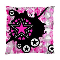 Pink Star Splatter Cushion Case (single Sided)  by ArtistRoseanneJones