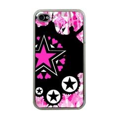 Pink Star Splatter Apple Iphone 4 Case (clear) by ArtistRoseanneJones