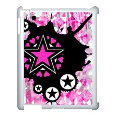 Pink Star Splatter Apple Ipad 3/4 Case (white) by ArtistRoseanneJones