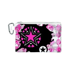 Pink Star Splatter Canvas Cosmetic Bag (Small)