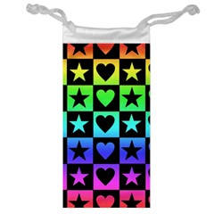 Rainbow Stars And Hearts Jewelry Bag by ArtistRoseanneJones