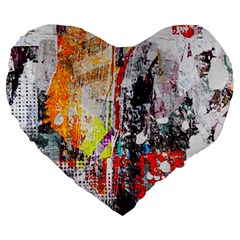 Abstract Graffiti Large 19  Premium Flano Heart Shape Cushion by ArtistRoseanneJones