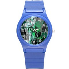 Green Urban Graffiti Plastic Sport Watch (small) by ArtistRoseanneJones
