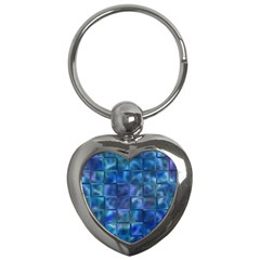 Blue Squares Tiles Key Chain (heart) by KirstenStar