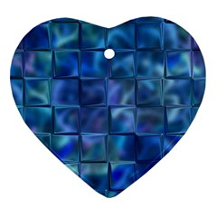 Blue Squares Tiles Heart Ornament (two Sides) by KirstenStar