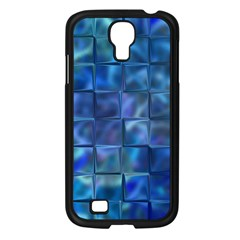 Blue Squares Tiles Samsung Galaxy S4 I9500/ I9505 Case (black) by KirstenStar