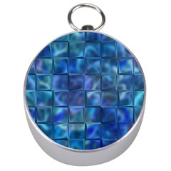 Blue Squares Tiles Silver Compass by KirstenStar