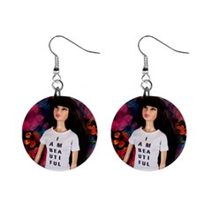 I am beautiful - Thuy Mini Button Earrings by tiffanygholar