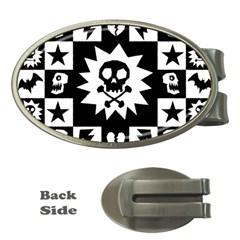 Goth Punk Skull Checkers Money Clip (Oval) by ArtistRoseanneJones