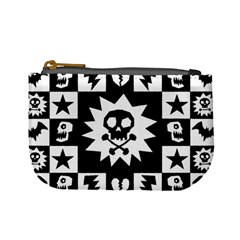 Goth Punk Skull Checkers Coin Change Purse by ArtistRoseanneJones