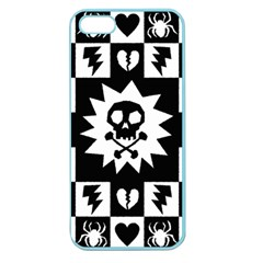 Goth Punk Skull Checkers Apple Seamless Iphone 5 Case (color) by ArtistRoseanneJones