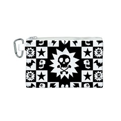 Goth Punk Skull Checkers Canvas Cosmetic Bag (small) by ArtistRoseanneJones